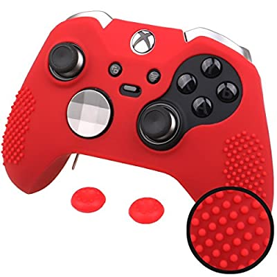 Pandaren® STUDDED silicone cover skin anti-slip for Both Xbox One Elite & Standard controller x 1(red) + thumb grips x 2 from Pandaren