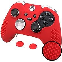 Pandaren® TACHONADO silicona Fundas antideslizantes para Tanto Xbox One Elite y Estándar Mando x 1 (rojo) + thumb grip x 2