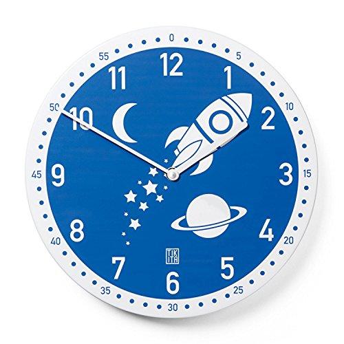 Tikita Kinderwanduhr Blau Rocky lautlos - Wanduhr Rakete für Jungen kindgerecht, Ø30cm, Modern und Ohne Ticken, Junghans Uhrwerk