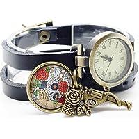 montre en cuir bracelet 3 rangs cabochon bronze illustré vintage, crâne, tête de mort, fleur, revolver, pistolet