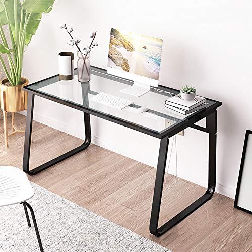 CDTO Tempered Glass Computer Tische Hitzebeständig, Modernen Stil Stahlrahmen Bürotisch Dauerhaft Schreiben Lesen Studie Desk-c 120x70cm/47.2x27.5in -