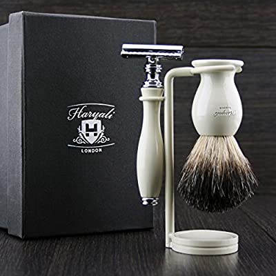 Shaving Gift Set with Safety Razor, Black Badger Brush and Stand,Great Gift Idea for Grand Father, Father, Husband or Boyfriend.