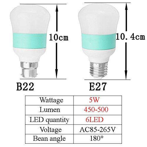 MASUNNE27/B22 5W 6Led 2835Smd Pc Cover Shell Blanc Energy-Saving Ball Gourde Ampoule Ac85-265V-B22