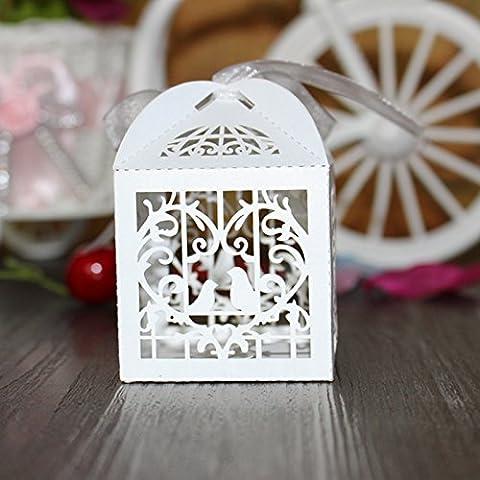 XHDWNBM 20 Pcs Casella Hee-Sugar Creative vassoio regalo di nozze di caramelle di zucchero Box-Hi borsa regalo di Natale Box , Piccola avorio