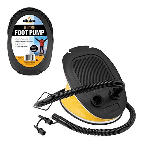 Milestone Camping  85830 Tragbare Luftpumpe Blasebalg Fußpumpe Ballons Schwimmreifen aufblasbar aufblasen aufpumpen, Gelb, 5Liter