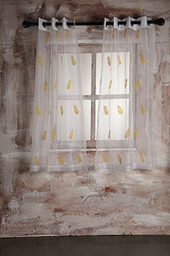 SHEER CURTAIN WHITE LEAF EMBROIDERY - WINDOW