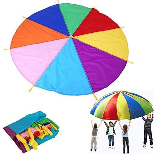 Yunhigh-es Paracaídas Infantil, 2m niños paracaídas Juguete con 8 Asas para Entrenamiento...