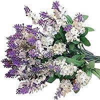 Sanysis Plantas y Flores Artificiales 1PC Lavanda Flores Artificiales Colgantes (Blanco)