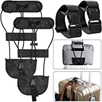 AFUNTA 4 Packs Add A Luggage Belt Straps, Adjustable Travel Suitcase Belt Attachment Accessories Connect Luggage Together - Black