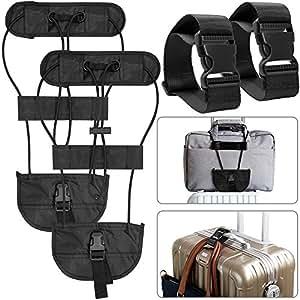 4 Confezioni Cinghie per bagagli, AFUNTA Aggiungi una cintura bagagli Cinghie Per Valigie Regolabile Accessori di fissaggio per un facile collegamento di borse insieme -Nero