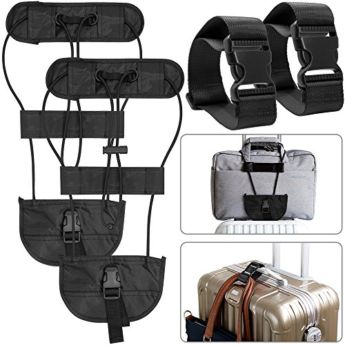 4 Packs Añadir Un cinturón de equipaje y correas, AFUNTA Adjustable Travel Suitcase Belt Attachment Accesorios para conectar bolsas juntos – Negro