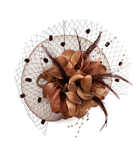 EXCHIC Damen Fascinator Blumen Netz Kopfschmuck Feder Haarschmuck Hochzeit Derby Cocktail Hut (# Kaffee) (Kate Middleton Halloween Kostüme)