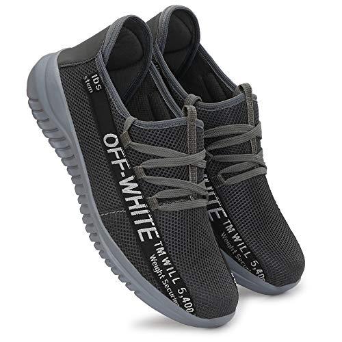 HEEDERIN Men's Grey Comfortable Mesh Lace up Sport's/Running/Walking/Gym/Jogging/Unisex Shoe 9 UK