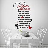 01329 Adesivo murale Wall Art Aforisma - La ricetta della felicità - Misure 60x88 cm - nero e rosso - Decorazione parete, adesivi per muro, carta da parati