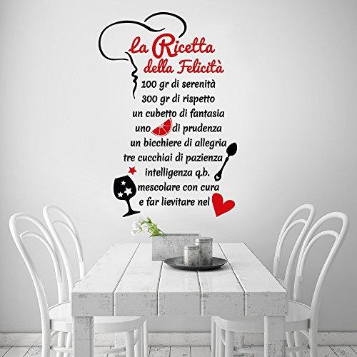 Newsbenessere.com 51ERQhuD6RL 01329 Adesivo murale Wall Art Aforisma - La ricetta della felicità - Misure 60x88 cm - nero e rosso - Decorazione parete, adesivi per muro, carta da parati