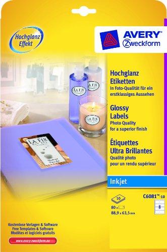 Etiketten Avery Volle Blatt (Avery C6081–10Glossy Etiketten für Inkjet Drucker (88,9x 63,5mm Etiketten, 8Etiketten pro A4Blatt, 10Blatt)–Weiß)