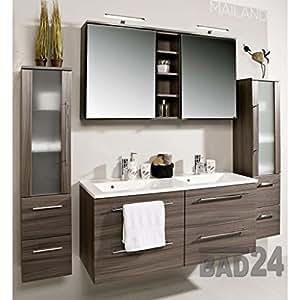 badezimmer m bel set mailand eiche dunkel inkl doppel waschbecken und doppel spiegelschrank. Black Bedroom Furniture Sets. Home Design Ideas