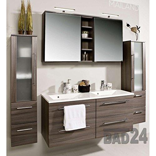 #Badezimmer Möbel Set Mailand Eiche dunkel inkl. Doppel-Waschbecken und Doppel-Spiegelschrank#