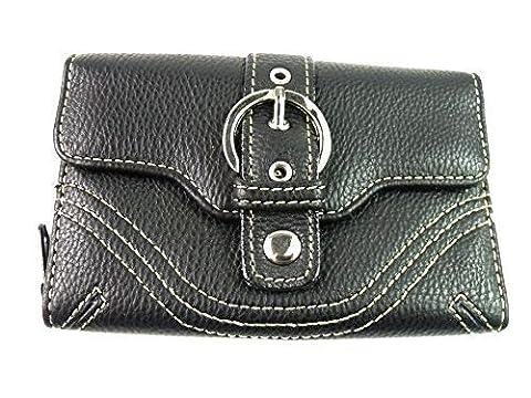Damen Gürtelschnallen Design Portemonnaie Fashion Portemonnaie Clutch Tasche Münzbeutel Kreditkarteninhaber - Schwarz