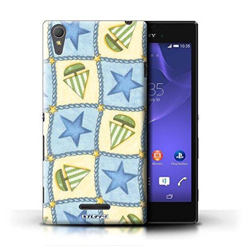 Kobalt® Imprimé Etui / Coque pour Sony Xperia T3 / Turquoise/Orange conception / Série Bateaux étoiles Bleu/Vert