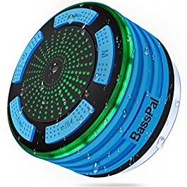 BassPal Shower Speaker, IPX7 Waterproof Portable Wireless Bluetooth 4.0 Speakers with Super Bass and HD Sound, Perfect Speaker for Beach, Pool, Kitchen & Home