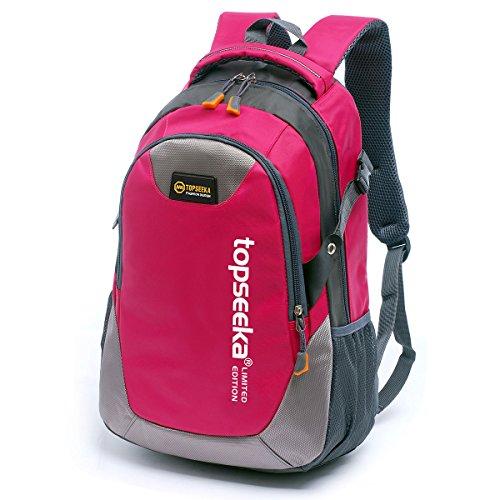 Outdoor peak Unisex Jungend Oxford wasserdicht Büchertasche Rucksack Laptoptasche Unitasche Freizeitrucksack Schulrucksack Studententasche Daypacks Reisetasche(Rosa) (Innen-sport-magazin)