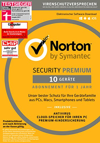 Symantec Norton Security Premium | 10 Geräte | PC/Mac/Smartphone/Tablet | Download