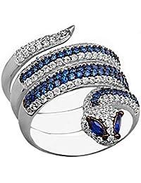 df3b390f7f9a Sortija Plata Ley 925M Mujer Serpiente Reliada Piedras Azules Circonitas