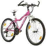 Jungenfahrrad 24 Zoll Bikesport MISTIQUE Mountainbike Jugend Fahrrad Kinderfahrrad Kinderrad Rahmen 34,5 cm Shimano 18 Gang (Rosa)