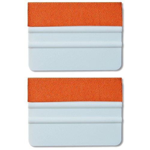 Ehdis® [2 piezas] la alta calidad de fieltro Edge escobilla de goma de 4 pulgadas para la herramienta de aplicador de la etiqueta del vinilo del coche del raspador con el borde de Orange Suede fieltro - PP blanco raspador