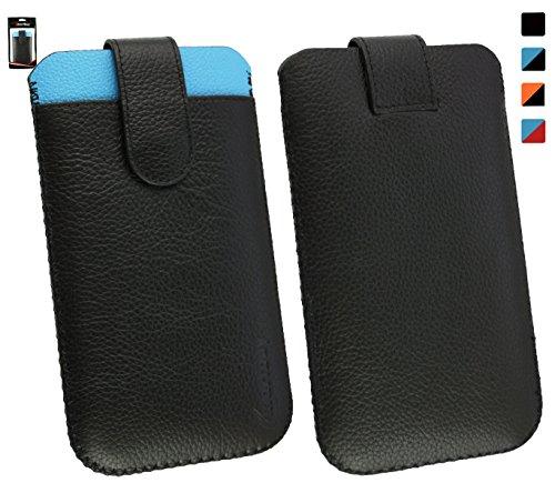 Emartbuy® Vonino ZUN XO Smartphone Genuine Calfskin Leder Schwarz/Blau Slide in Hülle Case Cover Sleeve (Größe 4XL) with CRotit Card Slot & Pull Tab Mechanism