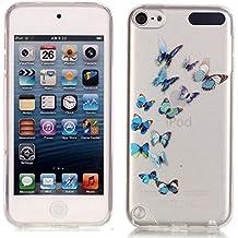 We Love Case TPU Silicona Funda para iPod Touch 5 Touch 6 Transparente Carcasa Flexible Suave Silicone Bumper Case Cover Delgado Cristal Claro Cubierta Caso de Parachoques Resistente a los arañazos - Dibujo Mariposas Azul