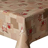 PVC Tablecloth Hoot Red 2 Metres (200cm x 140cm), Owls Polka Dot Stripes Gingham Check Floral Leaf, Latte Brown Beige Red Cream, Wipe Clean, Vinyl / Plastic Table Cloth