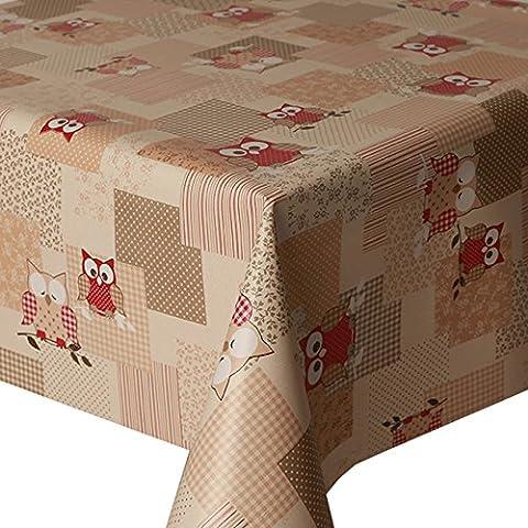 Nappe en PVC facile à nettoyer Motif hibou rouge, pois, vichy, feuille 2mètres 200x 140cm