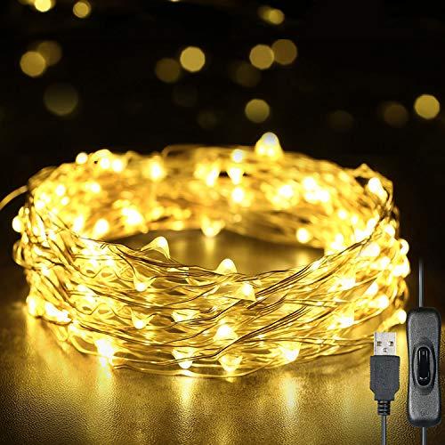 Weehey 12m 120 LED Luces de Hadas Luces de Cuerda USB IP65 Impermeable Alambre de Plata Blanco Cálido Decor del árbol de Navidad para Decoración de Fiestas Boda, Interior/Exterior