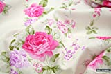 We Love Fabric Pink & Lila Kohl Roses 100% Baumwolle Stoff