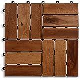 Casa PuraTerrassenfliese aus Akazien-Holz zertifiziert, 11er Spar-Set für 1 m², Garten-Fliese in 30 x 30 cm, Bodenbelag mit Drainage, Klick-Fliesen für Garten Terrasse Balkon (1 qm ist 11 Stück)