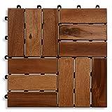 Casa PuraTerrassenfliese aus Akazien-Holz zertifiziert, 11er Spar-Set für 1 m², Garten-Fliese in 30 x 30 cm, Bodenbelag mit Drainage, Klick-Fliesen für Garten Terrasse Balkon (1 Stück)