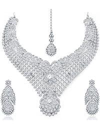 Sukkhi Fabulous Rhodium Plated AD Necklace Set For Women