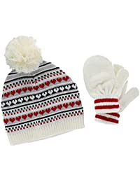 bfa4a6897ea CTM Toddler Girl s 0-2 Jacquard Knit Beanie and Mitten Set