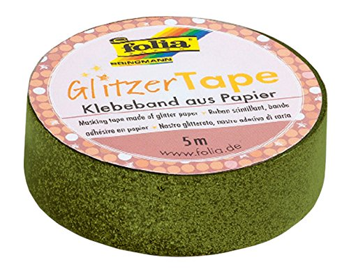 Folia 28105-Purpurina Tape Verde, Aprox. 5m x 15mm