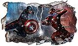 Chicbanners Marvel Avengers Superhero Captain America Ironman V607 Sticker Mural Autocollant pour fenêtre 3D 1000 mm de Large x 600 mm de Profondeur