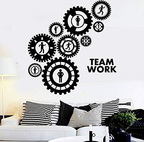 Zahnrad Vinyl Wandtattoos Teamwork Getriebe Büro Dekoration Aufkleber Kunst Innenwanddekor Sofa Hintergrundbild 57X61 Cm