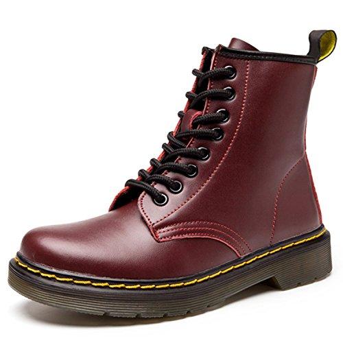 ukStore Damen Stiefel Derby Wasserdicht Kurz Stiefeletten Winter Herren Worker Boots Profilsohle Schnürschuhe Schlupfstiefel,Ungefüttert/Wein Rot 43 EU, Herstellergröße 270/1.5
