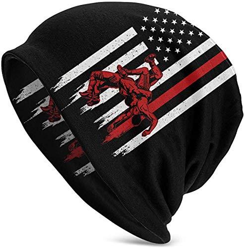 Wrestling American Flag Herren Slouchy Beanie Hut Thin Baggy für Sommer Winter Unisex