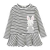 JERFER Kleinkind Kinder Baby Mädchen Stickerei Kaninchen Gestreift Prinzessin Kleid Outfits Kleidung 3-7 Jahre (5T, Weiß)