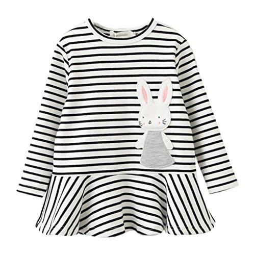 JERFER Kleinkind Kinder Baby Mädchen Stickerei Kaninchen Gestreift Prinzessin Kleid Outfits Kleidung 3-7 Jahre (3T, Weiß) (Weißes Kaninchen Kostüm Muster)