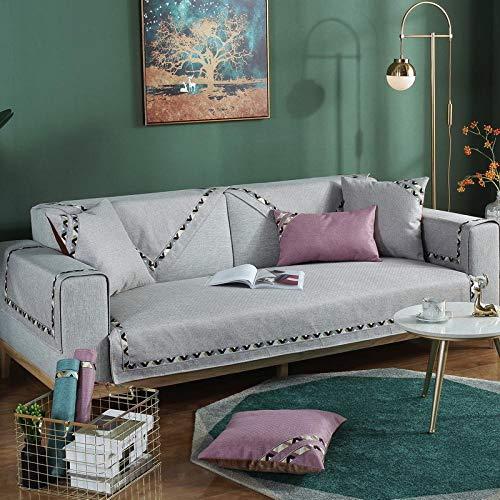 Renshenx copridivano 1/2/3/4 posti copridivano morbido colorato,copertura animali domestici,cuscino divano pizzo tinta unita, grigio, 70 * 70 cm