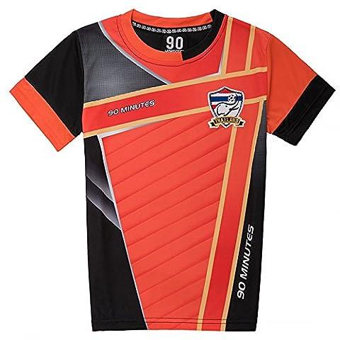 - Maillot de foot thailande 90 minutes orange et noir - 14 ans
