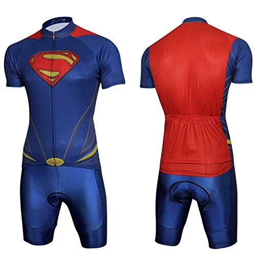 XiangYu Radtrikot Set, Herren Batman  Iron Man  Spiderman  Captain America   Steve Rogers Atmungsaktiv Schnelltrocknend Kurzarm + 4D Shorts Blue-XXXL